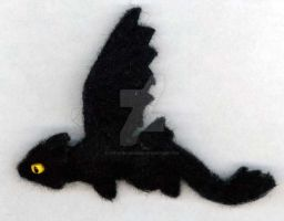 Night Fury Needle Felted Pin by The-GoblinQueen