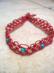 Red Macrame Hemp Headband by tiranaki