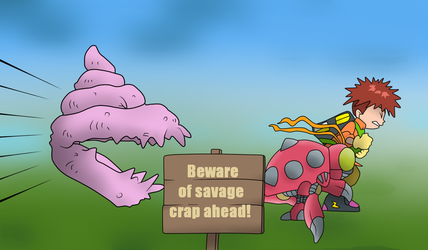 Chased by Savage Crap by KonanTheAngel