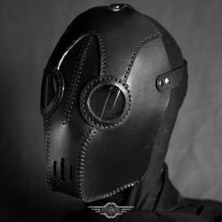 Transmutator black leather mask by LahmatTea