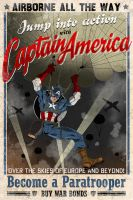 Captain America airborne poster by MikeMahle