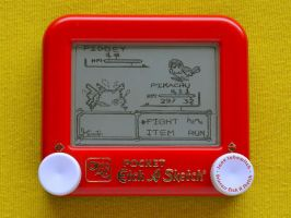Pokemon yellow Etch A Sketch by pikajane