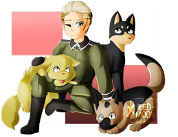 [Art Trade] .:Just a Man and His Dogs:. by XRed-moon