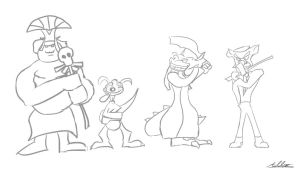 Crash Bandicoot Baddies Rough by Adam-Clowery