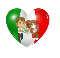 .:Commission:.Mexico Chibi Heart Flag Series by Spirit-Okami