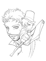 Lincoln and Henry lineart