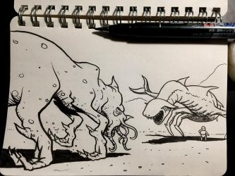 Inktober 13: Guarded by Size-And-Stupidity