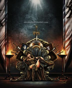 Xena on the Throne by aaronwty
