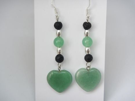 Earrings with aventurine, volcanic rock and sterli by IngaleCreations