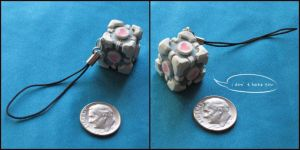 Companion Cube Keychain by gryphonworks