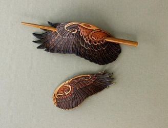 Harris Hawk Barrettes by windfalcon