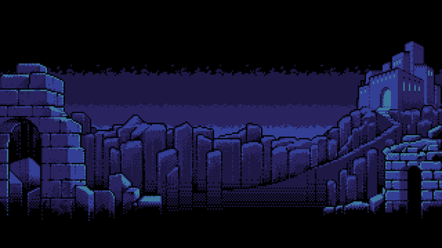 8-bit Adventure Anthology Background - Shadowgate by Polymental69