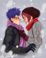 Rin and Rei Candy Cane Kiss by fluffpuffgerbil