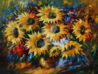 Sunny Bouquet by Leonid Afremov by Leonidafremov