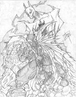 Batman and Spawn Pencil sketch by greenhickup