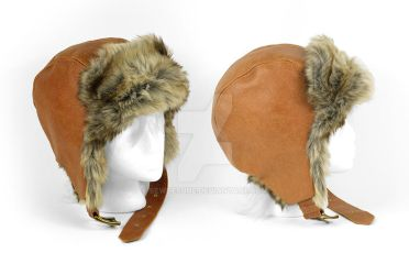Brown Leather Aviator Cap by SewDesuNe