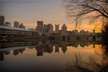 The Calm Allegheny At Sunset by mastermayhem