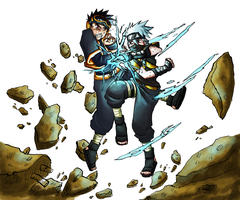 Obito vs Kakashi coloured by Shabaku