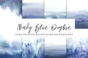 Navy Blue ombre watercolor by GraphicAssets