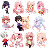 Mini Chibis Batch #1 by Hazelnutchan