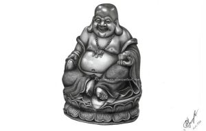 Happy buddha in pencil 2 by Rustamova