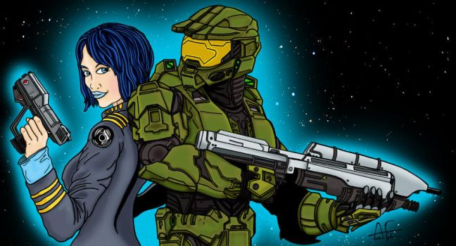 Cortana Master Chief Commission by Stone-Fever