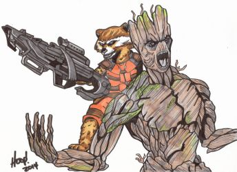Rocket and Groot by twigstudios