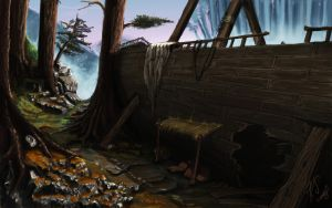 Ship in the woods by Bezduch