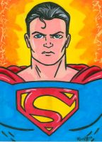 Sketchcard Superman by RichBernatovech