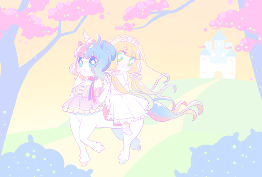 Unicorn and Princess by MelynnRose
