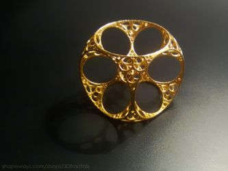 Apollonian Cube - Gold Plated Steel by bib993