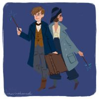 Newt Scamander and Porpetina Goldstein by MartineHannah