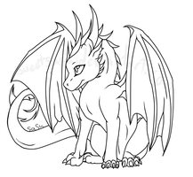 baby dragon lineart by sweetsasu