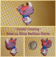 Animal Crossing - Renee Rhino Charm - Handmade by YellerCrakka