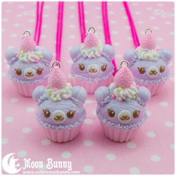 Cupcake bear Necklace by CuteMoonbunny