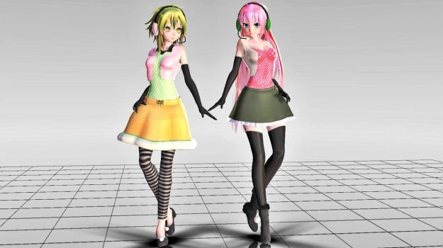 MMD TDA Happy Synthesizer Luka and GUMI (link) by FatalFramer3