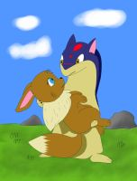 Quilava and Eevee by AllenQuills