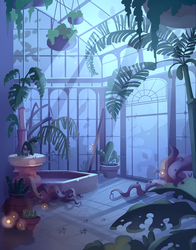 Commission: 'Haunt the House' : Spooky Greenhouse by ApollinArt