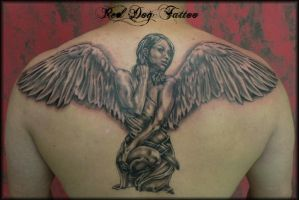 Angel Back Tattoo by Reddogtattoo