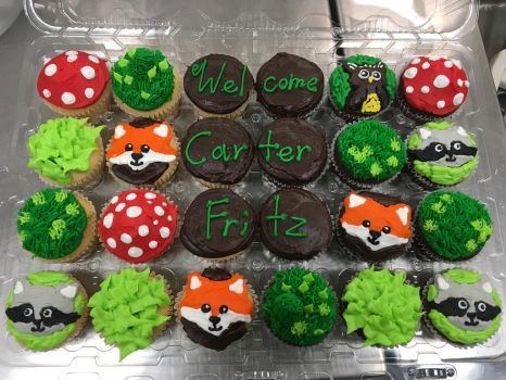 Forest and Animal Cupcakes by IrisSonata4156