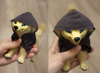 Gold dog in the hood by KrafiCat
