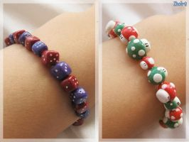 Dice and Mushroom Bracelets by Zhoira