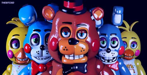 Five Nights at Freddy's 2 Toy Banner (SFM Remake) by TheSitciXD