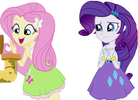 Fluttershy and Rarity EqG Rainbow Rocks Vector by Sugarilicious