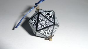 Steampunk D20 black white by Lylan