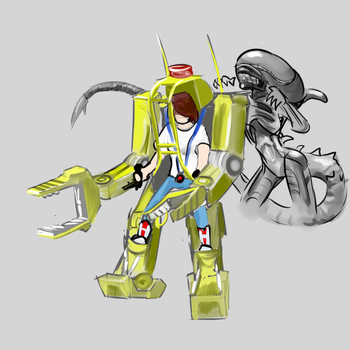 Xenomorph and PowerLoader by Germille