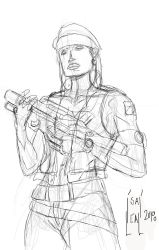 Militarywoman-ink by maul10