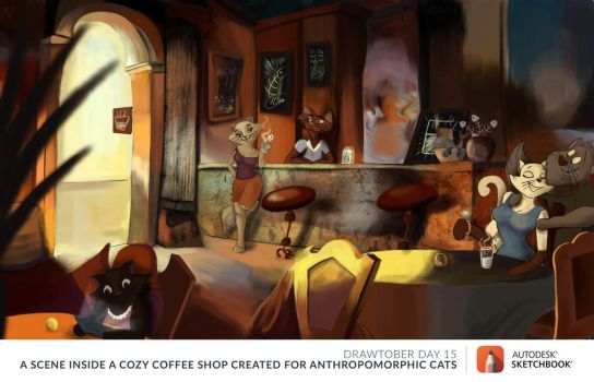 Drawtober 15th - A Literal Cat Cafe by dasEvachen