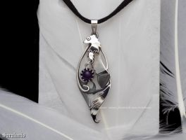 'Little ferret', handmade sterling silver pendant by seralune