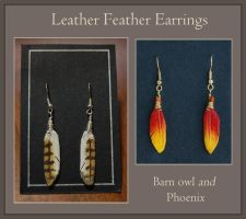 Leather Feather Earrings - Batch 1 by windfalcon